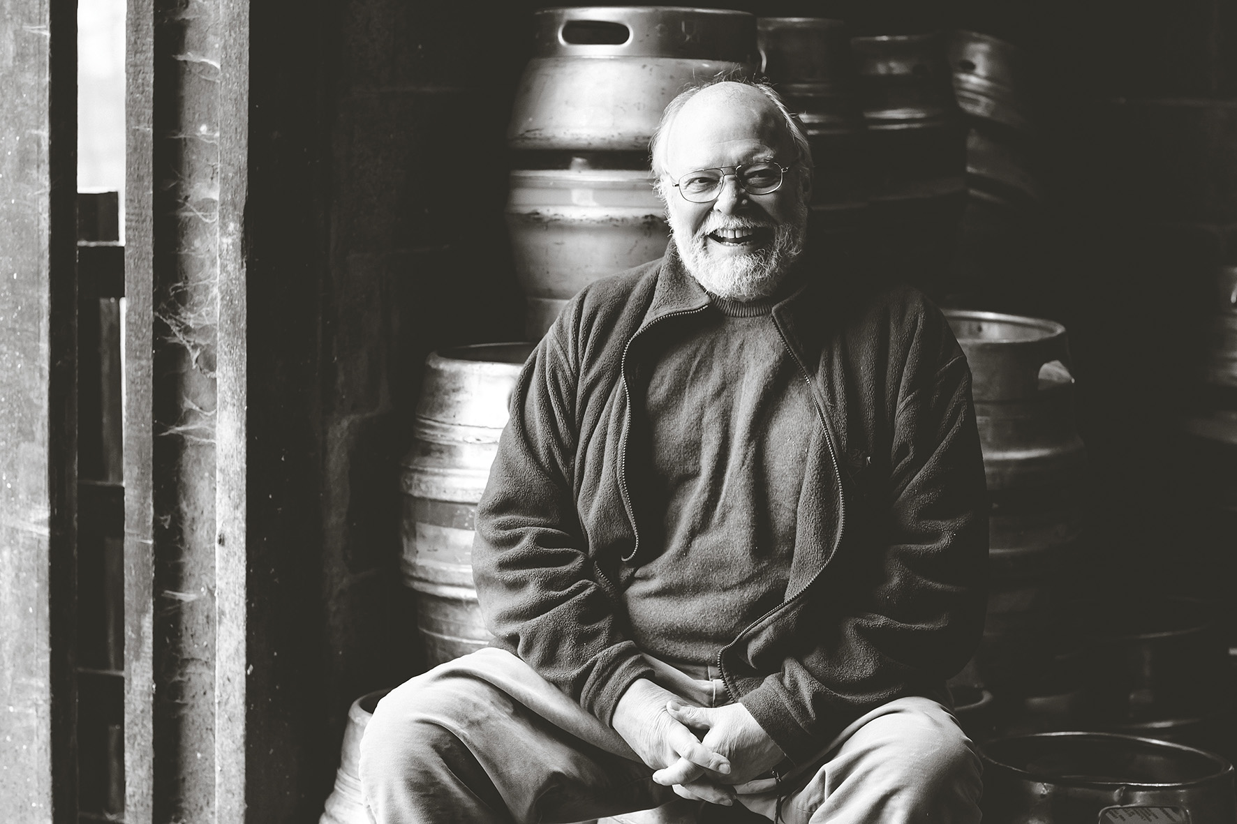 "alt=""Geoff Brooker happy and laughing in brewery"">"
